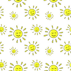 sun pattern, sun doodle background, seamless vector pattern hand drawn doodle sun yellow on white background, bright sunny pattern for your design
