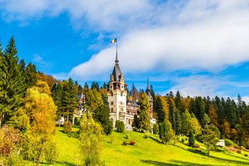 Wall Mural - Peles castle Sinaia in summer season, Transylvania, Romania protected by Unesco World Heritage Site
