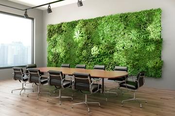 3d render of a Vertical green wall in modern meeting room