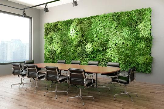 3d render of a Vertical green wall in modern office meeting room