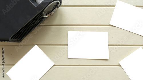 Wall mural topview Projector and white card with keyboard
