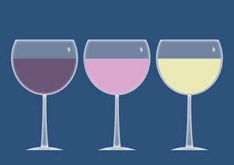 Trosi verres de vin : rouge, rosé, blanc