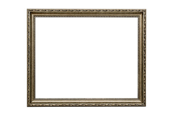Wooden frame for paintings with patina, made in a classic design. Isolated. Picture frame. White background.