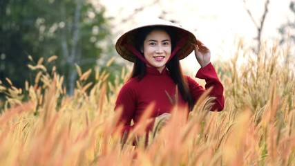 Wall Mural - Vietnam girl in the national dress Ao dai and smiling.