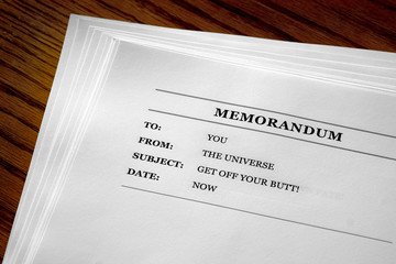 Memo From the Universe Positive Message Get Off Your Butt