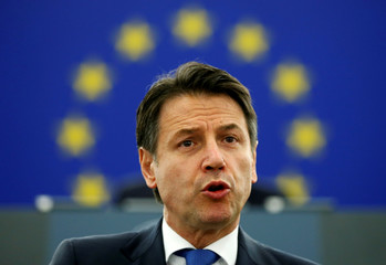 Italy's Prime Minister Conte addresses the European Parliament during a debate on the future of Europe in Strasbourg