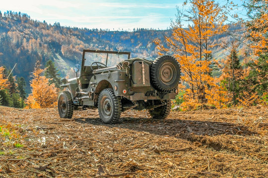 Willys Jeep. American military vehicle used in  World War II.