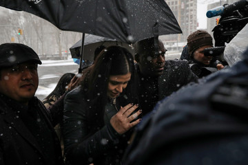 """Emma Coronel Aispuro, the wife of Joaquin Guzman, the Mexican drug lord known as """"El Chapo"""", arrives at the Brooklyn Federal Courthouse in New York"""