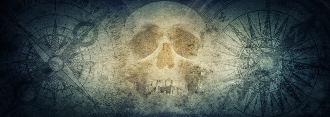 Wall Murals Ship Pirate skull and compasses on old grunge paper background.