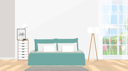 The light interior of the bedroom with a bed of light green color, white pillows. A room with a large window. Vector flat illustration.
