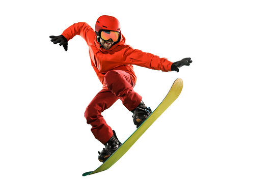 Portrait of young man in sportswear with snowboard isolated on a white studio background. The winter, sport, snowboarding, snowboarder, activity, extreme concept
