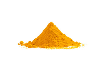 Turmeric powder heap isolated on white Wall mural