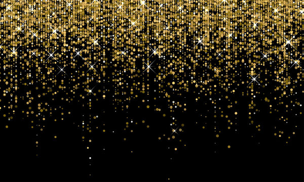 Golden confetti falling on sparkling gold glitter background. Vector carnival party golden confetti glow on black background