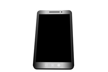 Realistic smartphone with black screen on white background.