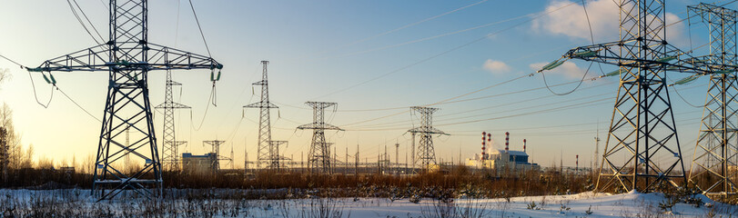 panorama Beloyarsk nuclear power plant with power lines, Russia, Ural
