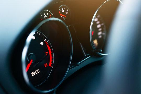 close-up of a dashboard in a modern car