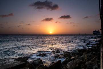 City & Travel: Sunset at the beach of Pietermaai (Willemstad) in Curacao Wall mural