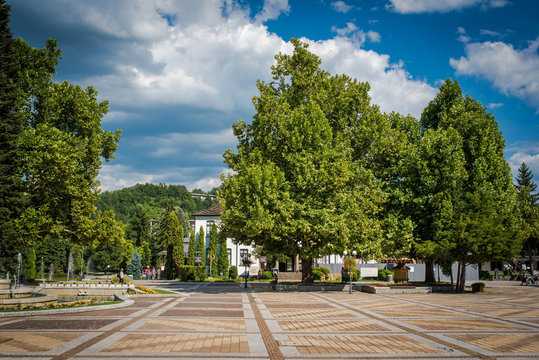 Bulgarian town of Troyan. City center in a summer day