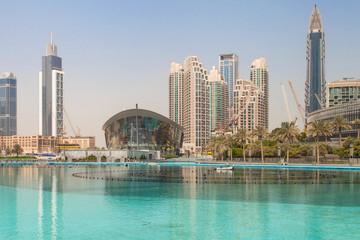 Dubai Opera and the Burj Khalifa Lake