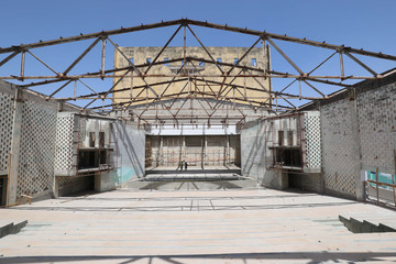 Somalia's National Theatre is seen as it undergoes renovation works in Mogadishu