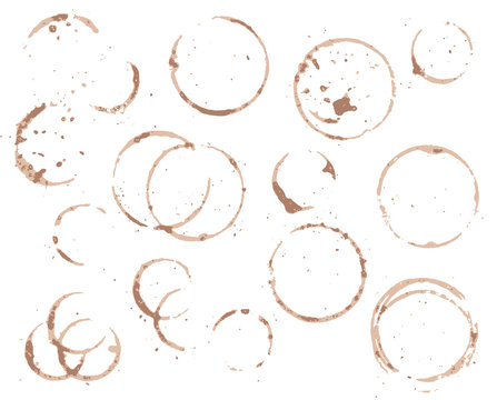 Brown coffee cup circle on white background. Black coffee vector element. Wet cup stain and splatter.