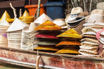 Hats on a Wooden Boat in Damnoen Saduak