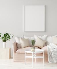 Mock up poster frame in home interior  background, 3D render