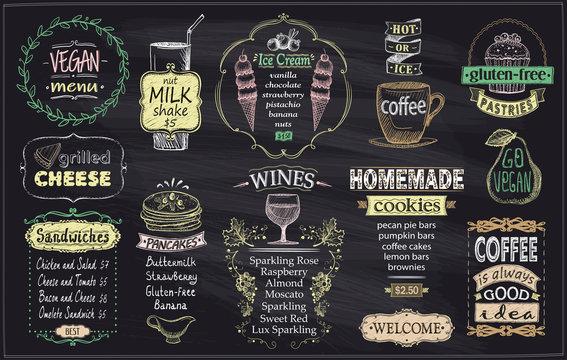 Chalkboard menu, vegan menu, gluten free menu, grilled cheese, sandwiches, pancakes, wines, homemade cookies, ice cream and coffee
