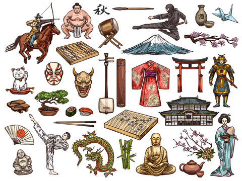 Japanese culture, religion vector symbols