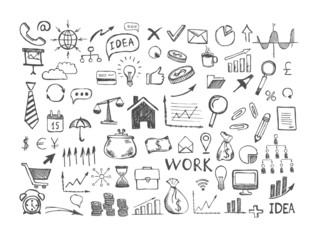 Hand drawn business symbols. Management concept with Doodle design style.
