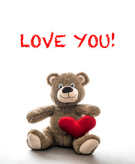 Teddy bear red heart Valentines Day Love You