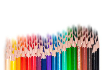 colorful pencil set on white background