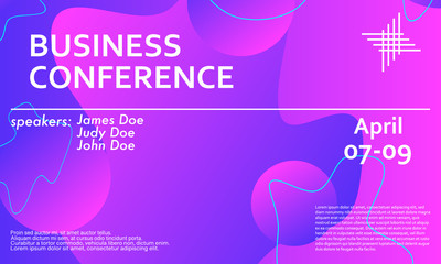 Business conference invitation flyer. Fluid back.
