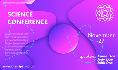 Science conference flyer template. Fluid back.
