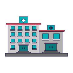hospital buildings symbol blue lines