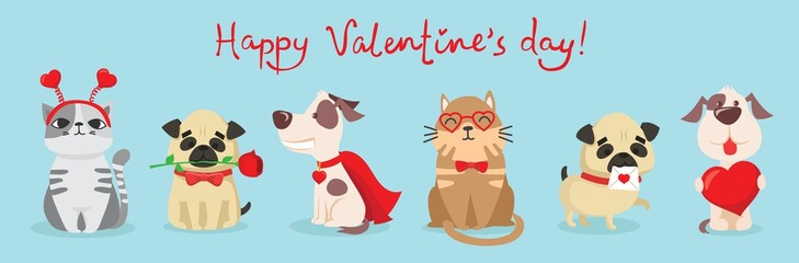 Vector illustration card with cute cartoon little Valentine cats and dogs puppies in love and funny greeting text Happy Valentine's Day