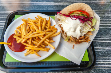 Turkish doner kebab with french fries