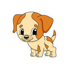 Dog. Cute flat vector illustration in childish cartoon style. Funny character. Isolated on white background.