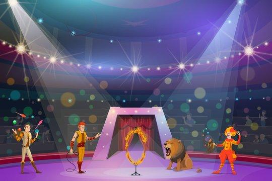 Juggler, clown, handler and lion on circus show