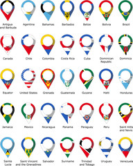 Flags in the form of a pin from the countries of America with their names written below
