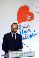 French Prime Minister Edouard Philippe attends a ceremony to present the Ilan Halimi award to reward projects by youths combating anti-semitism and racism at the Hotel Matignon in Paris