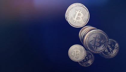 Bitcoin coins modern scene (3D Illustration)