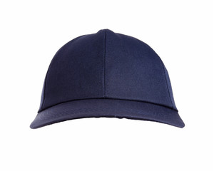 Front view of black hat isolated on white background.