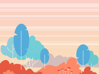 Fantasy landscape vector background. Simple flat style clip art illustration. Fantastic forest, sunset sky, cartoon stylized bushes, flowers. Graphic design template for banner, poster, web site.