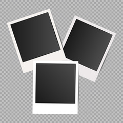 Set of Retro photo frames with shadows