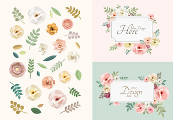Floral Stickers and Frames Mockup