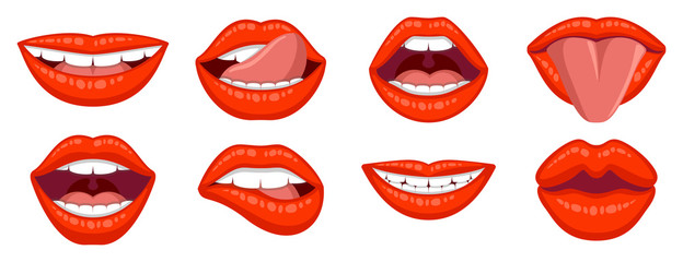 Beautiful set of women's sexy lips. Lipstick kiss. Sexy woman's lips expressing different emotions, such as smile, kiss, half-open mouth, biting lip, lip licking, tongue out. Isolated on white.