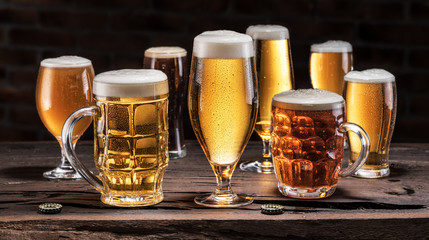 Wall Mural - Cold mugs and glasses of beer on the old wooden table at the black background. Assortment of beer.