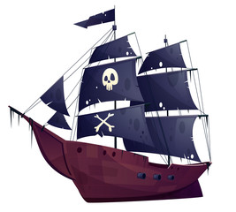 Vector cartoon pirate ship isolated on white background. Wooden boat with black sails, cannons and sailyards. Corvette or frigate with buccaneer flag - skull and bones. Old battleship, barge.