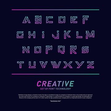 Modern Font Technology and alphabet design. Creative design Font tech logo vector. Icon Symbol
